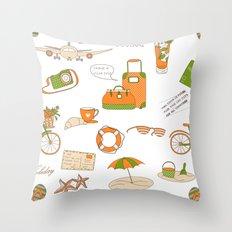 Summer Travel Throw Pillow