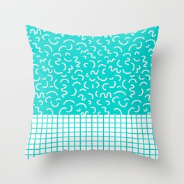 Hockney - Bright blue, memphis, 80s, 90s, swimming pool, summer turquoise design cell phone, phone  Throw Pillow