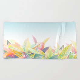 After the rain / Tropical Croton Leaves 4 Beach Towel