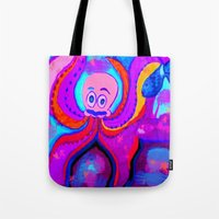 lsd Tote Bags featuring octopus LSD by MichellicA