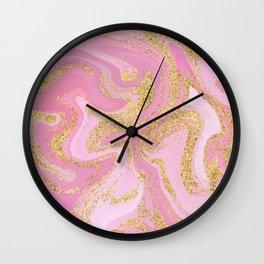Modern Precious Pink Gold Marble Wall Clock