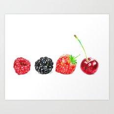 Berry Fruit Strawberry Raspberry Cherry Blackberry Art Print