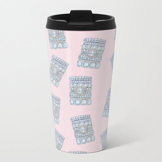 Diemond Rings on Light Pink Metal Travel Mug