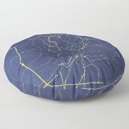 Rome Blue and Gold Street Map Floor Pillow