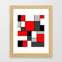 Red Black and Grey squares Gerahmter Kunstdruck