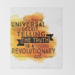 Revolutionary Act - quote design Throw Blanket