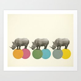 Rambling Rhinos Art Print