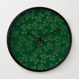 Sweet forest green gold foil christmas ginger bread man Wall Clock
