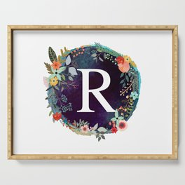 Personalized Monogram Initial Letter R Floral Wreath Artwork Serving Tray