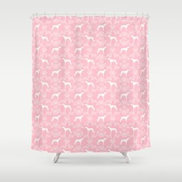 Greyhound floral silhouette pink and white minimal dog silhouette dog breed pattern Shower Curtain