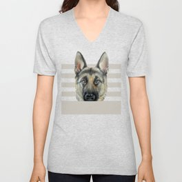 Shepard Dog illustration original painting print Unisex V-Neck