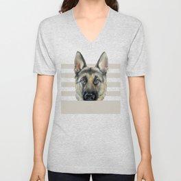 Shepard Dog illustration original painting print Unisex V-Neck