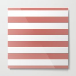 Camellia Pink and White Wide Horizontal Sailor Stripes Metal Print