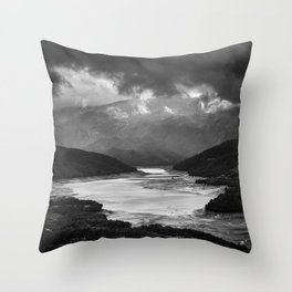 Storm At The Lake. Bw Throw Pillow