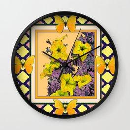 Golden Butterflies Lattice  Petunia Floral Purple Art Wall Clock