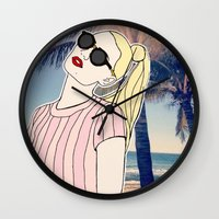 iggy Wall Clocks featuring Paradise Iggy by Kacey Ong