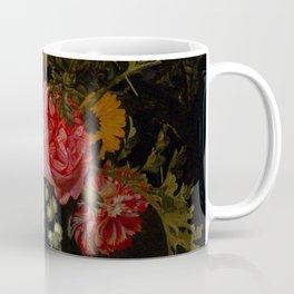 "Maria van Oosterwijck ""Flowers in a vase on a marble ledge"" Coffee Mug"