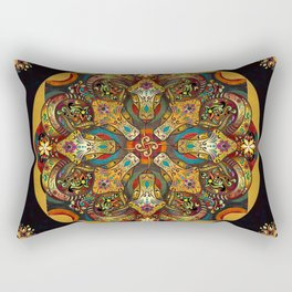 Mandala Sacred Rams - Dark Version Rectangular Pillow