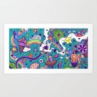 Kawaii Doodles Coloured Art Print
