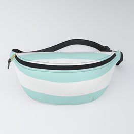 Aqua blue and White stripes lines - horizontal Fanny Pack