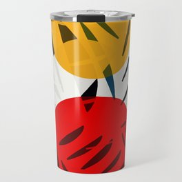 Yellow and Red Abstract Art Graphic Design Travel Mug