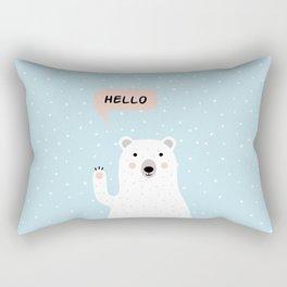 Cute Polar Bear in the Snow says Hello Rectangular Pillow