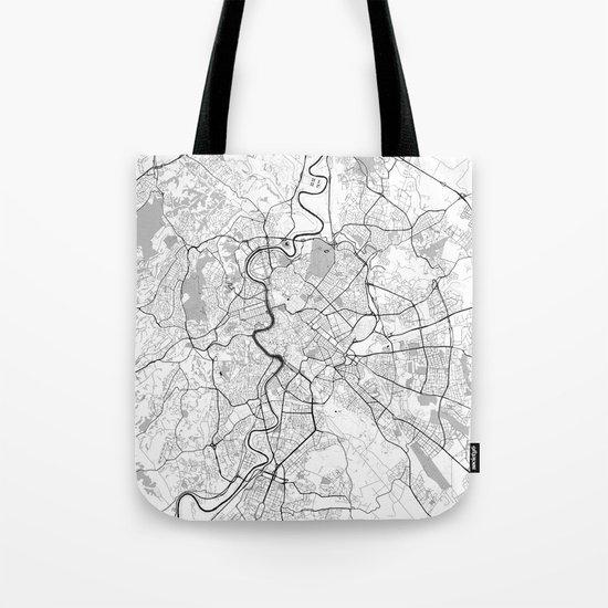 Rome City Map Gray Tote Bag