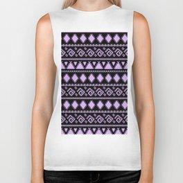 Lavender black tribal geometrical abstract pattern Biker Tank