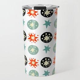 Abstract green black red hand painted stars polka dots Travel Mug