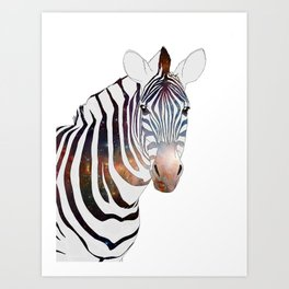 Galactic Zebra Art Print