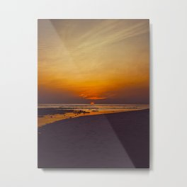 Vintage Sepia Orange Rustic Sunset Over The Ocean Metal Print