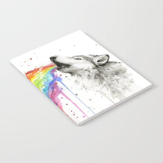 Wolf Rainbow Watercolor Animal Notebook