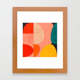 geometry shape mid century organic blush curry teal Framed Art Print