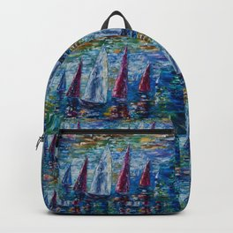 Sails To-night oil painting with Palette Knife Backpack