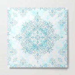 Moroccan Mandala in Blue and Mint Metal Print