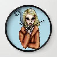 tenenbaum Wall Clocks featuring Margo Tenenbaum by Hungry Designs