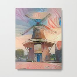 Collaged Windmill Metal Print
