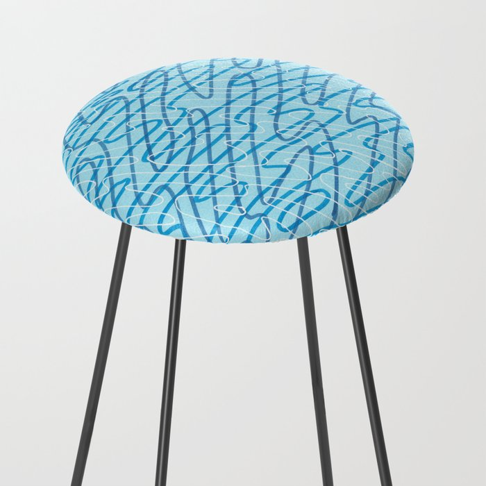 Blue Ripples Counter Stool