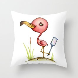 Attractive pink Flamingo with mirror Throw Pillow