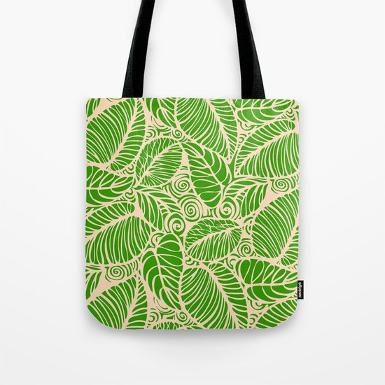 Summer Leaves Green Tote Bag