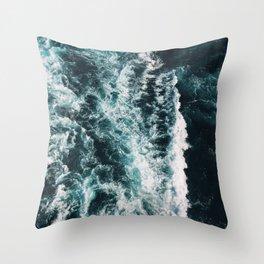 Deep Blue Ocean Vibes Throw Pillow
