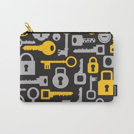Silhouettes set of keys and locks on a black Carry-All Pouch