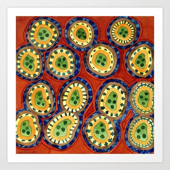 Folcloristic Ringed Circles Pattern Art Print