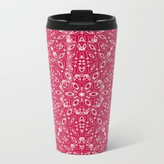 Ornament, abstract, Milena 2, pink, white Metal Travel Mug
