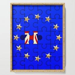 European Union Flag Jigsaw With Union Jack Serving Tray