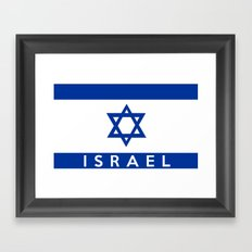 Israel country flag name text  Framed Art Print
