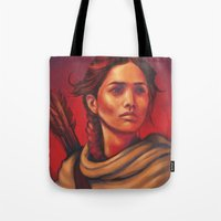 katniss Tote Bags featuring Katniss by JenHoney