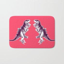 Dino Pop Art - T-Rex - Neon Pink & Dark Purple Bath Mat
