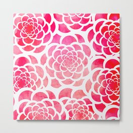 Girly hot pink watercolor abstract floral pattern  Metal Print
