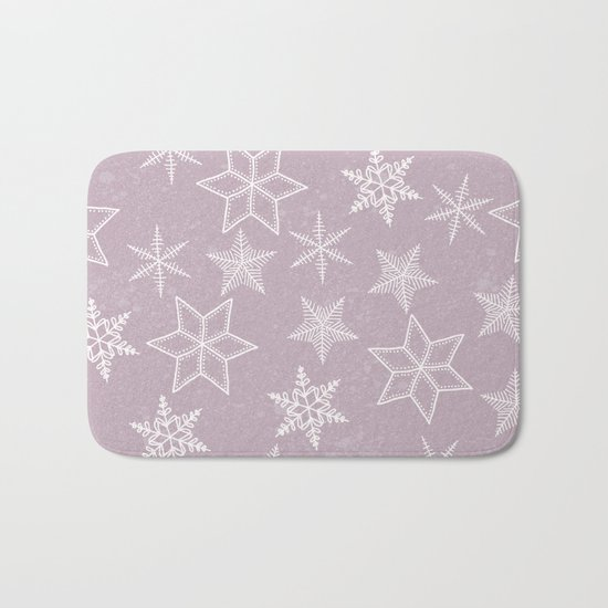 Snowflakes on pink background Bath Mat